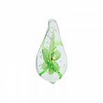 Кулон-подвеска муранское стекло, прозрачное с зеленым цветком