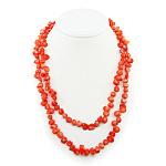 Бусы коралл оранжевый натуральный, галька, длинные 116см