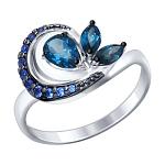 """Кольцо """"Соколов"""" из серебра с топазом и синими фианитами"""